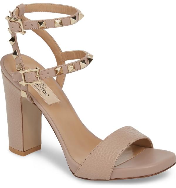 5cc08e724371 Valentino Rockstud Ankle Strap Block Sandal In Beige