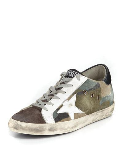 Golden Goose Superstar Camouflage Low-Top Sneakers In Camou/Grey/White