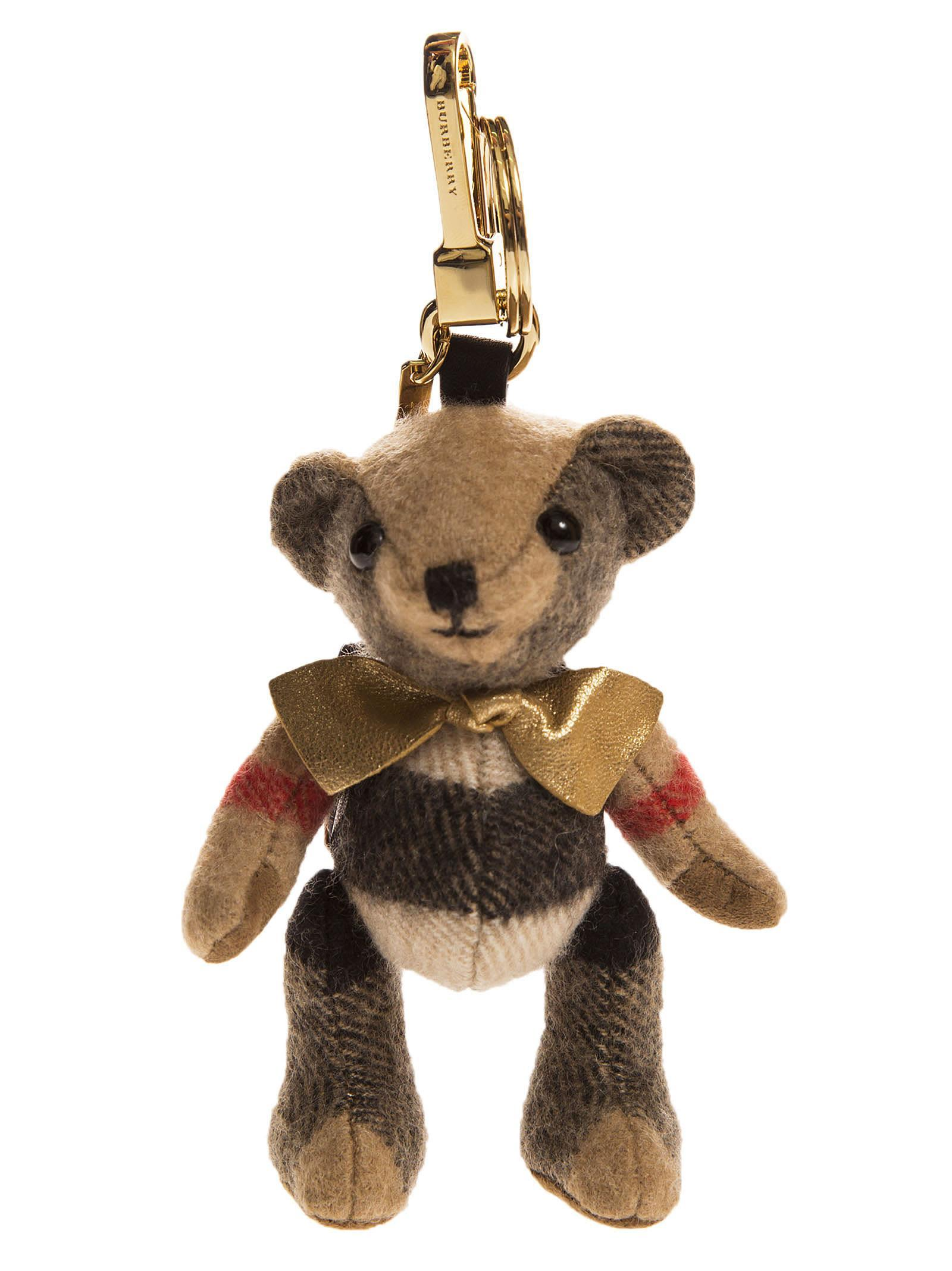 Burberry Thomas Bear Check Cashmere Keyring In Camel