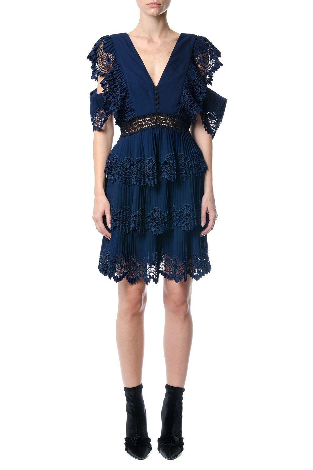 Tiered Pleated Embroidered Mini Dress In Navy