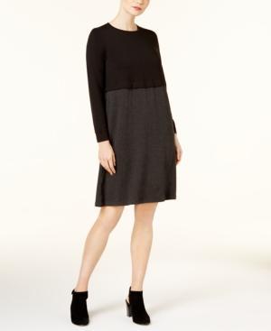 Eileen Fisher Tencel Colorblocked Crew-neck Dress In Black/charcoal