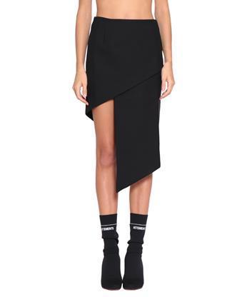 Vetements Asymmetric Wool Skirt In Black