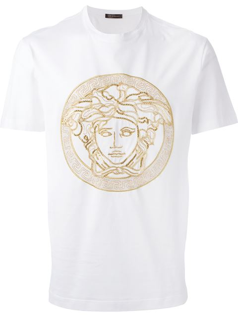 38e65c68508a Versace Medusa-Embellished Cotton-Jersey T-Shirt In White/Gold ...