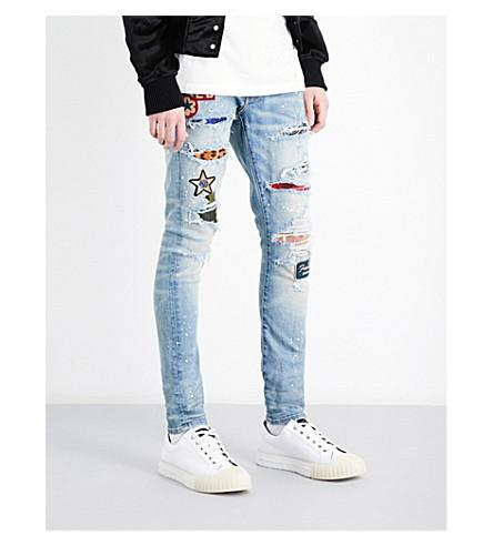 buying new sale usa online super cute Art Patch Slim-Fit Skinny Jeans in Light Indigo Tint