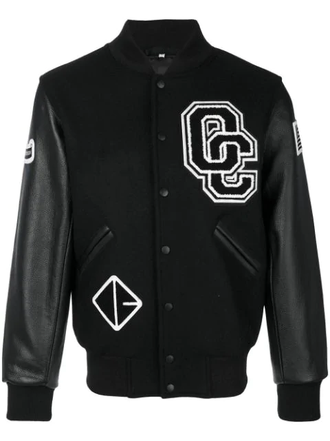 19ef469be Appliquéd Wool-Blend Twill And Textured-Leather Bomber Jacket in Black