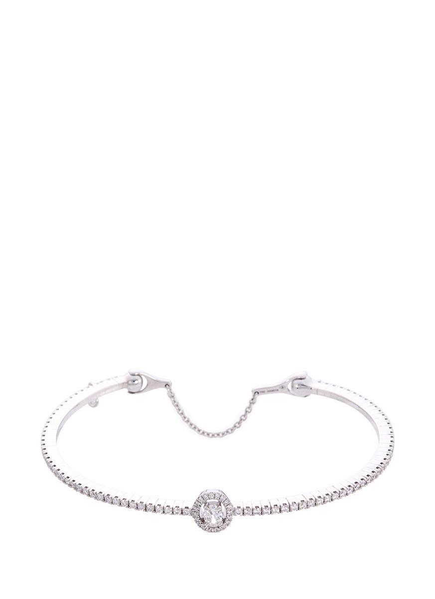 Messika 'Glam'Azone Skinny' Diamond 18K White Gold Bangle