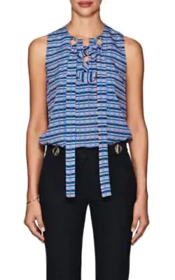 Derek Lam Lace-Up Mixed-Stripe Silk Blouse In Md. Blue