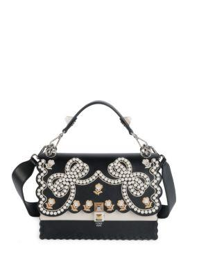 0bbfedd54a Fendi Ribbons And Pearls Kan I Embroidered Leather Shoulder Bag In Multi