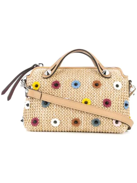 Fendi By The Way Small Embellished Boston Bag In A1T1 Naturalmulti