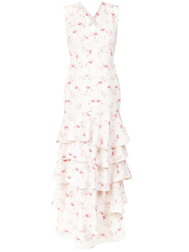 Olympiah Flamingo Print Gown In White
