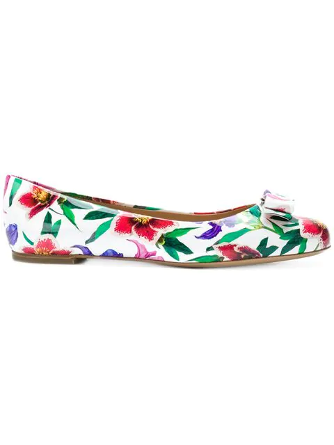 Salvatore Ferragamo Varina 11 Floral-Print Grosgrain Ballet Flats In Multicolour