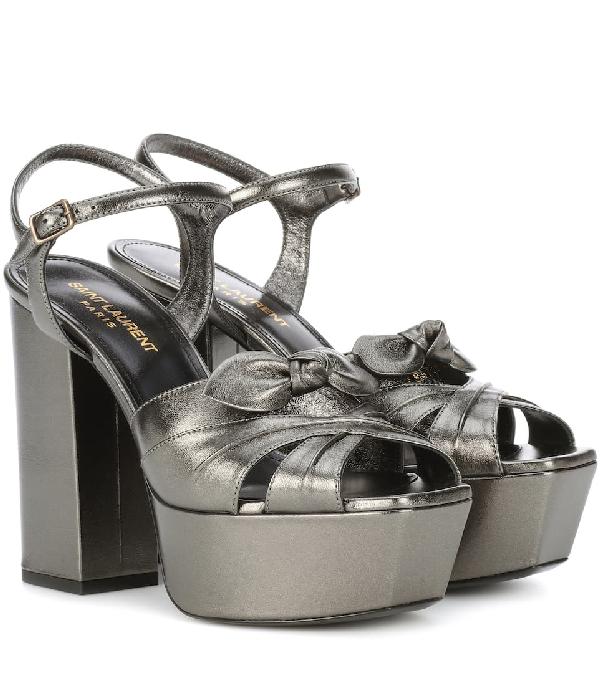 2d4759fbfd6 Saint Laurent Farrah Bow-Embellished Metallic Leather Platform Sandals
