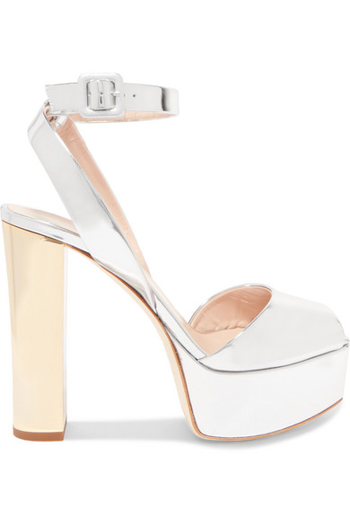 be5b249d237 Giuseppe Zanotti Lavinia Mirrored-Leather Platform Sandals In Silver