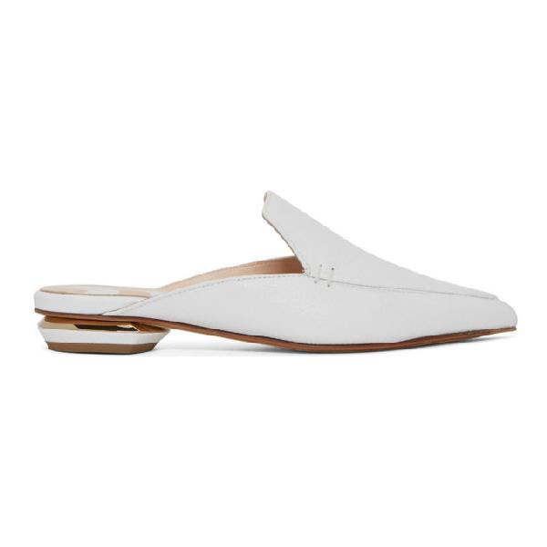 Nicholas Kirkwood 18mm Beya Flat Mule Shoes In White Calf Leather In W01 White