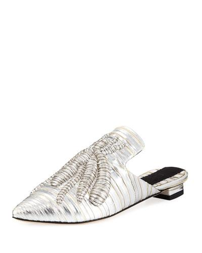 Sanayi313 Ragno Embroidered Metallic Mule Slide In Silver
