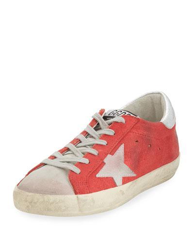 Golden Goose Distressed Suede Low-Top Sneaker In Red