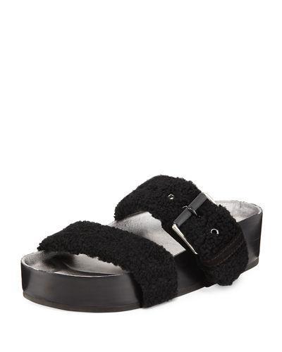37d31075e1 Rag & Bone Evin Genuine Shearling Slide Sandal In Black   ModeSens