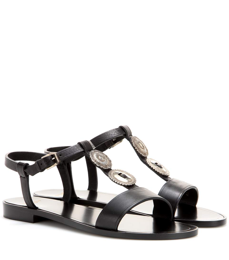 Saint Laurent Nu Pieds Concho Flat Sandal In Black Leather In Eero