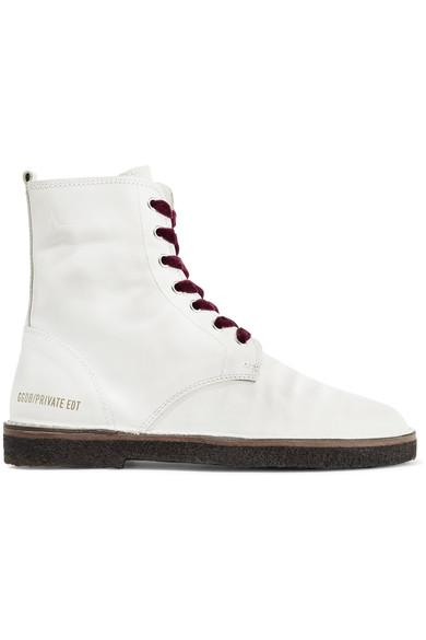 Golden Goose Distressed Leather Ankle Boots In White
