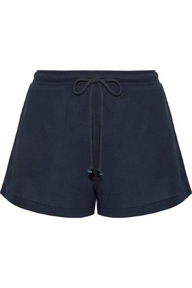 Skin Winona Waffle-Knit Cotton Pajama Shorts In Midnight Blue