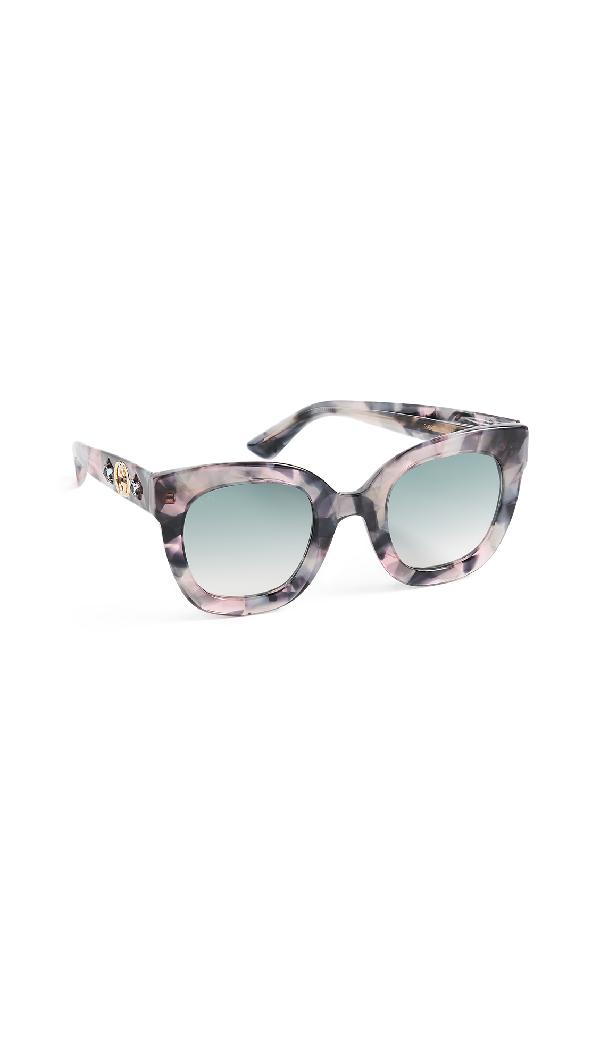 a3bb5a42073 Gucci Urban Stars Rectangle Sunglasses In Iridescent Pink Havana Grey