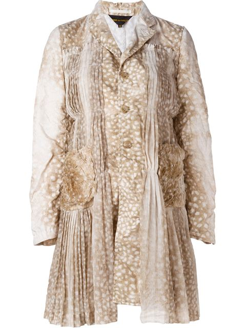 Comme Des GarÇOns Animal Print Pleated Detailing Coat In Neutrals