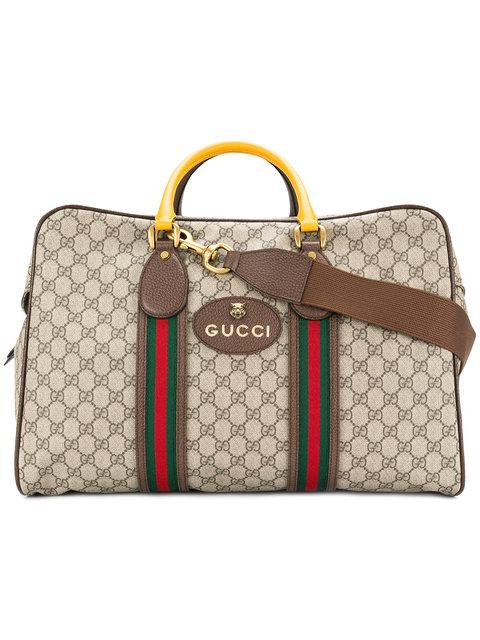 be1e59158c1ea3 Gucci Gg Supreme Duffle Bag With Web In Neutrals | ModeSens