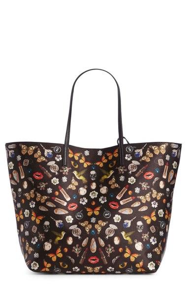 Skull Multi print Open Leather Shopper Tote Bag, Blackmulti, Black Multi In Obsession Print