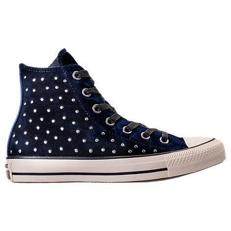 Converse Women s Chuck Taylor Hi Velvet Stud Casual Sneakers From Finish  Line In Blue 7b7e308cd