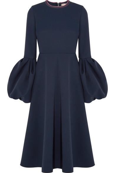 Roksanda Aylin Satin-trimmed Crepe Midi Dress In Midnight Blue