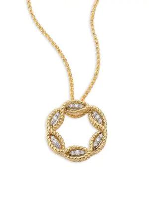 "Roberto Coin 18K White And Yellow Gold New Barocco Diamond Pendant Necklace, 18"""