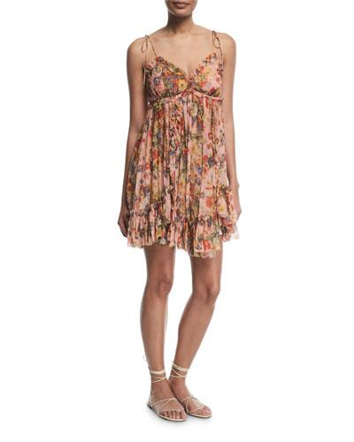 750a6f27ee26 Zimmermann Lovelorn Floral-Print Sleeveless Mini Dress In Pink Floral