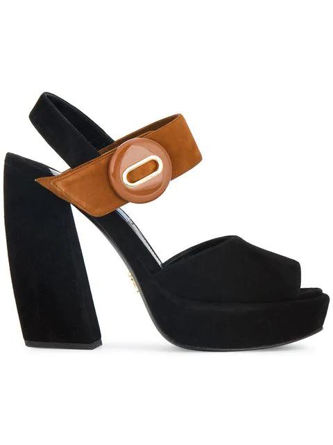 Prada Banana Platform Sandals In Black