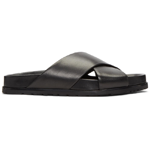 Saint Laurent Jimmy Notched Sandals In Black Leather In 1000 Black