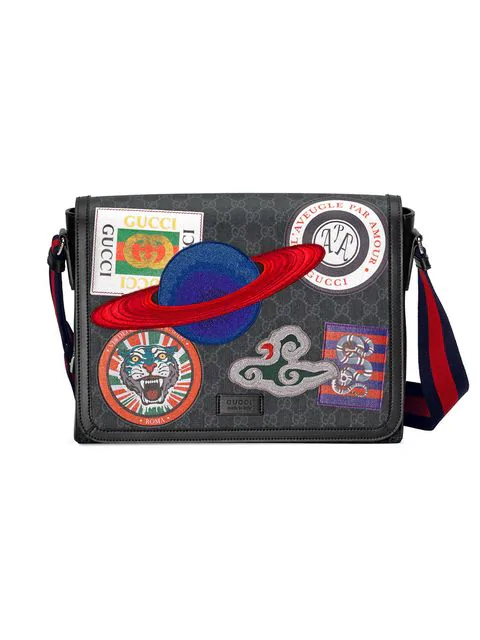 129bbdc17b63ef Gucci Men's Supreme Gg Canvas Messenger Bag With Planet Patches In ...