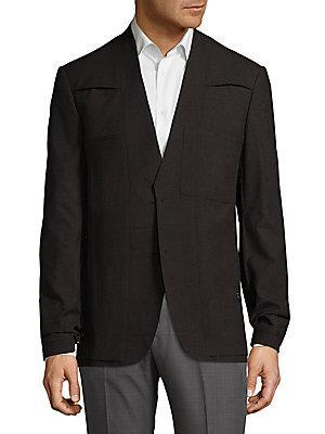 Maison Margiela V-Neck Wool Sportcoat In Dark Brown