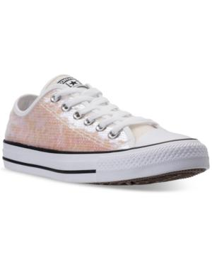 a24f2946d40 Converse Women S Chuck Taylor Ox Sequin Casual Sneakers From Finish Line In  White Sequins