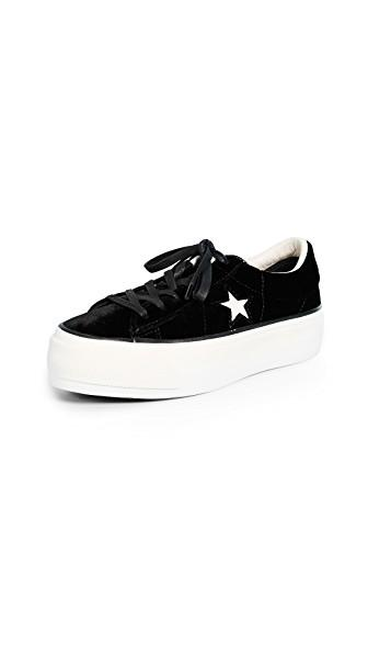 13fc05d57bd91e Converse Women s One Star Velvet Lace Up Platform Sneakers In ...