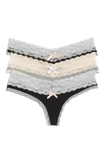 04e42c41c348 Honeydew Intimates Ahna 3-Pack Lace Thong In Black/ Heather Grey/ Black