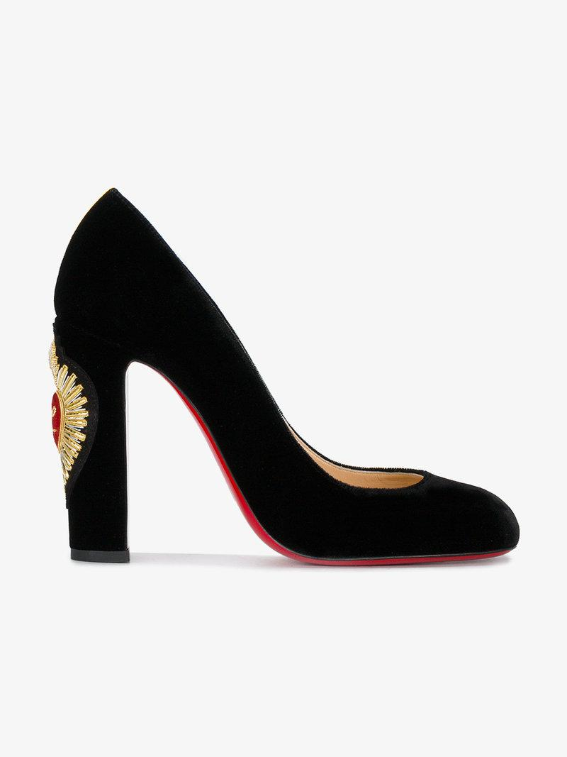 f3b2d214445 Christian Louboutin Cadrilla Corazon 110 Crest-Embroidered Pumps In Black