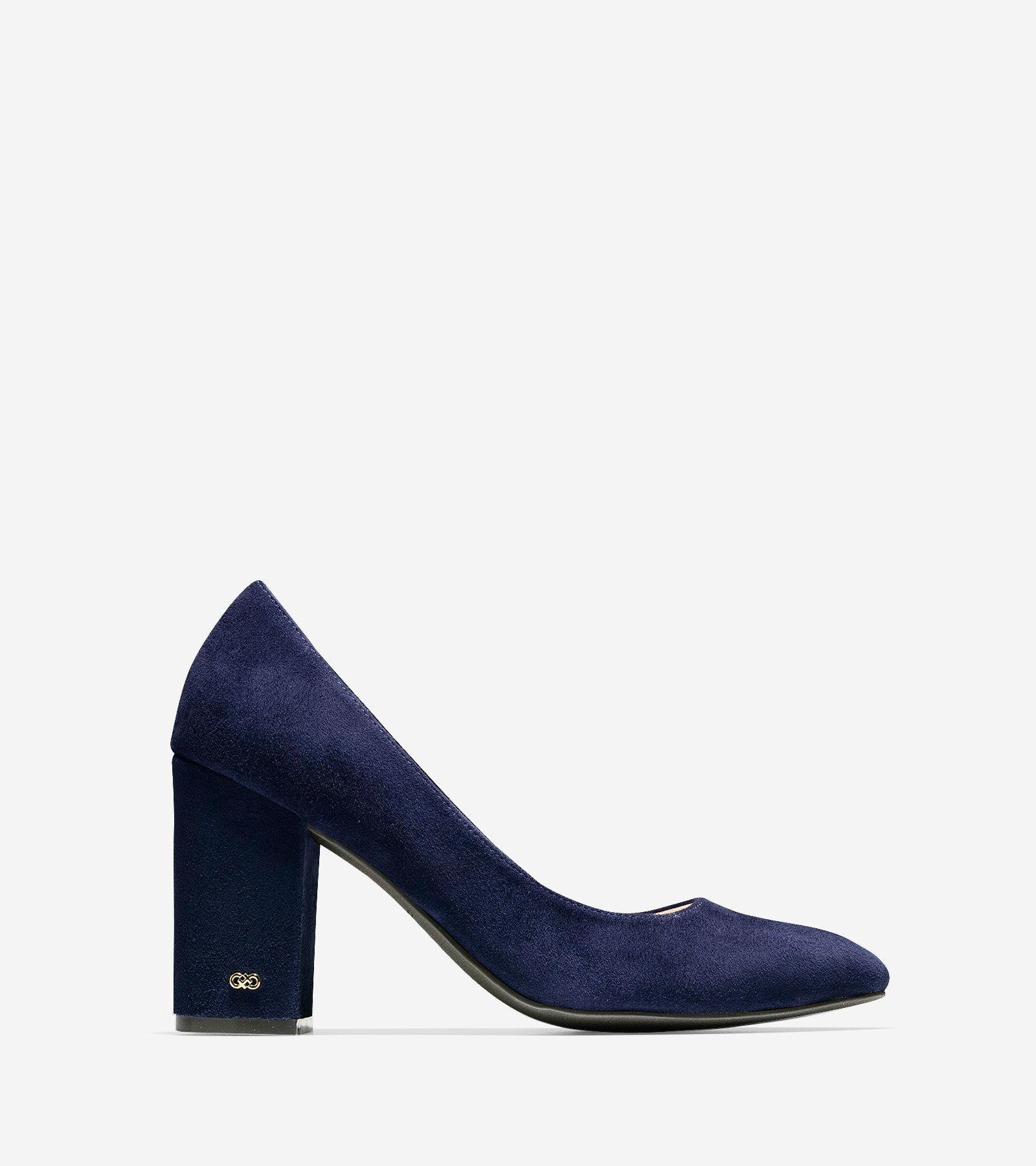 Cole Haan Alanna Pump 85mm Ii   Pointed Toe Suede  Heels In Blue