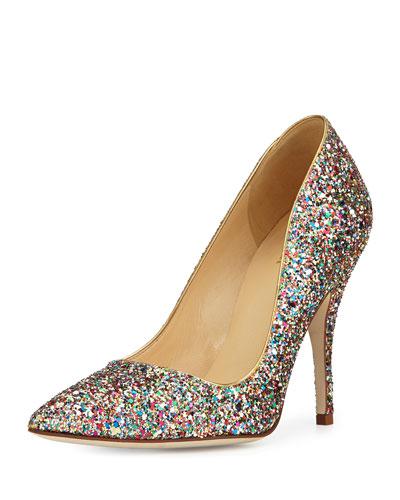 Kate Spade Licorice Too Glitter Point-Toe Pumps In Multi (Glitter)