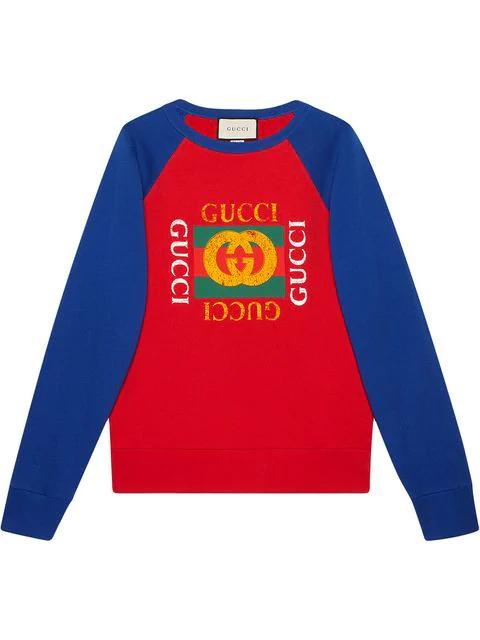 9ca4a286e6f Gucci Logo-Print Cotton-Jersey Sweatshirt In Red | ModeSens