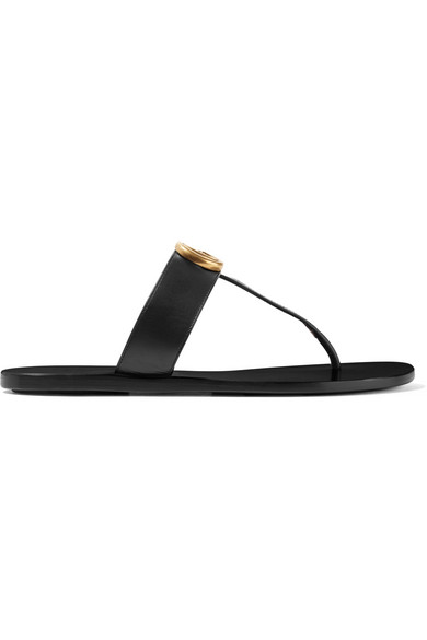 Gucci Marmont Flat Marmont Leather Thong, Black/Black In 1000 Black
