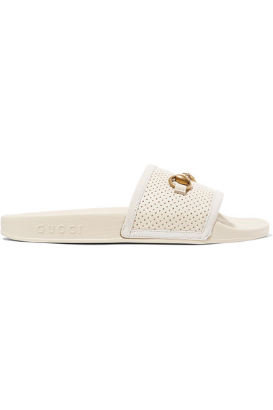 6e4d8bd46de3 GUCCI Women s Pursuit Perforated Leather Pool Slide Sandals in Cream. Gucci  Women