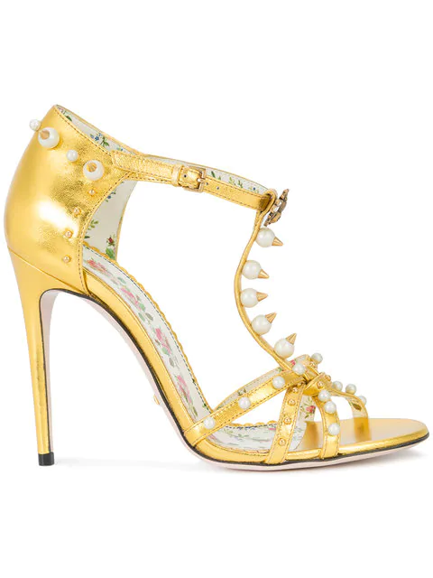 Gucci Women's Regina Embellished Leather Strappy High Heel Sandals In Gold