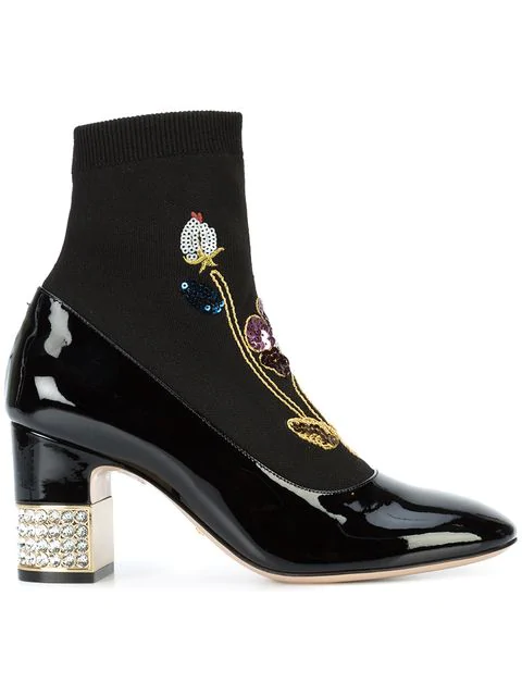 460b0bccf GUCCI. Women's Candy Embroidered Knit & Patent Leather Embellished Booties  in Black
