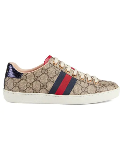 Gucci Ace Gg Supreme Metallic Watersnake-Trimmed Logo-Print Coated-Canvas Sneakers In Neutrals