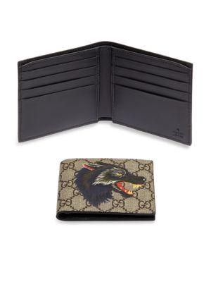 9f3b3bf76dd0 Gucci Wolf Printed Gg Supreme Classic Wallet In Beige Multi | ModeSens