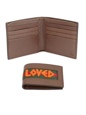5d86f5f676b Gucci Loved Web-Stripe Grained Leather Billfold Wallet In 2572 Brown ...